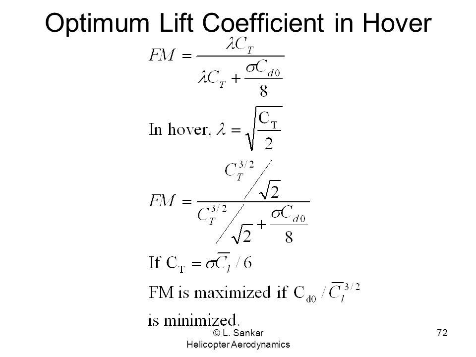 © L. Sankar Helicopter Aerodynamics 72 Optimum Lift Coefficient in Hover