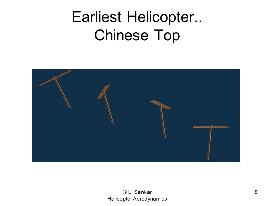 © L. Sankar Helicopter Aerodynamics 8 Earliest Helicopter.. Chinese Top