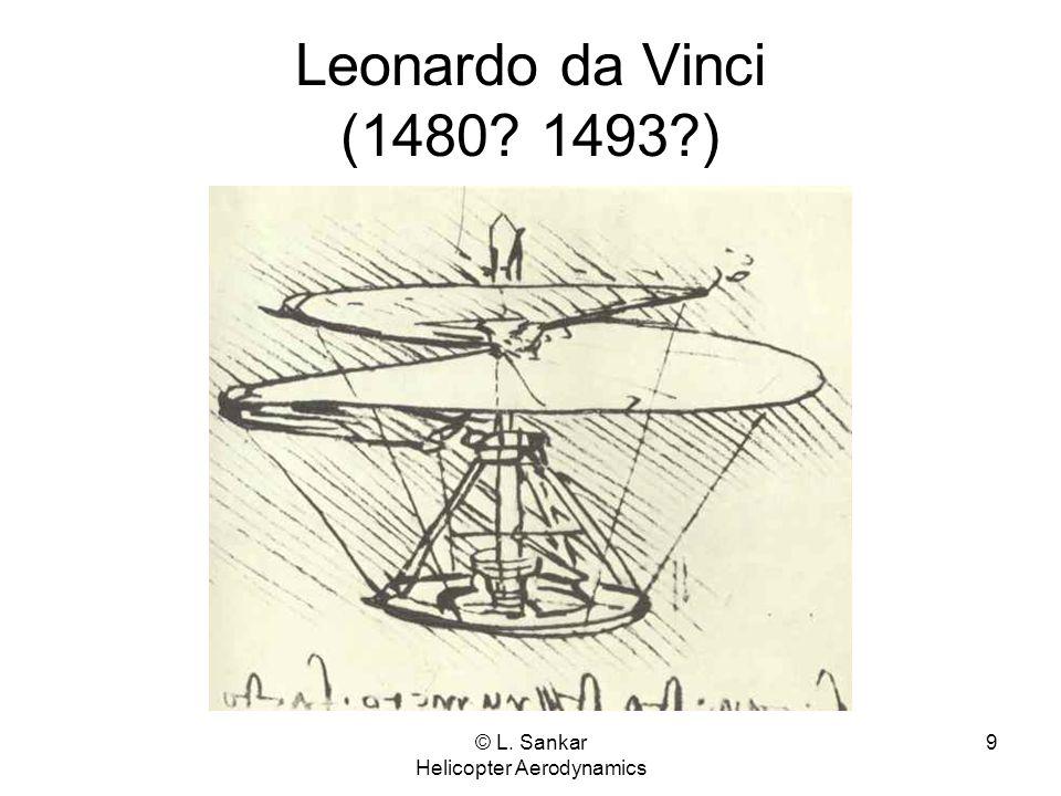 © L. Sankar Helicopter Aerodynamics 9 Leonardo da Vinci (1480? 1493?)