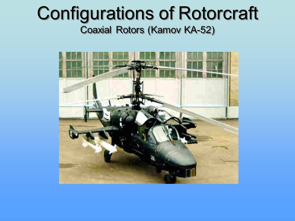 Configurations of Rotorcraft Coaxial Rotors (Kamov KA-52)