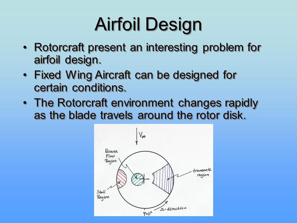 Airfoil Design Rotorcraft present an interesting problem for airfoil design. Fixed Wing Aircraft can be designed for certain conditions. The Rotorcraf