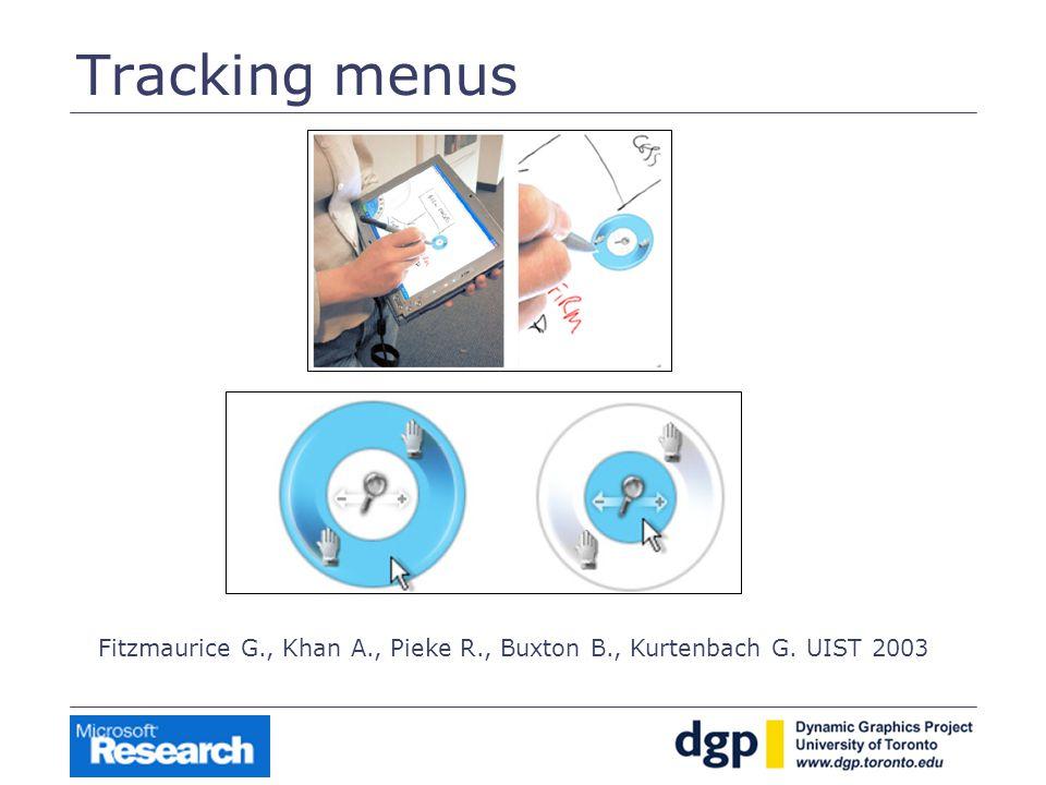 Tracking menus Fitzmaurice G., Khan A., Pieke R., Buxton B., Kurtenbach G. UIST 2003