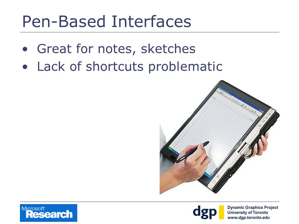 Pen-Based Interfaces Great for notes, sketches Lack of shortcuts problematic