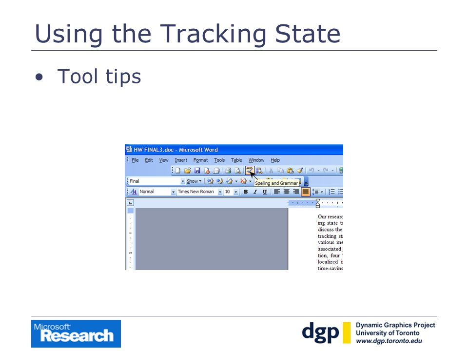 Using the Tracking State Tool tips