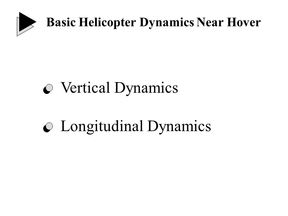 - Collective control Open loop poles: Vertical Dynamics Near Hover