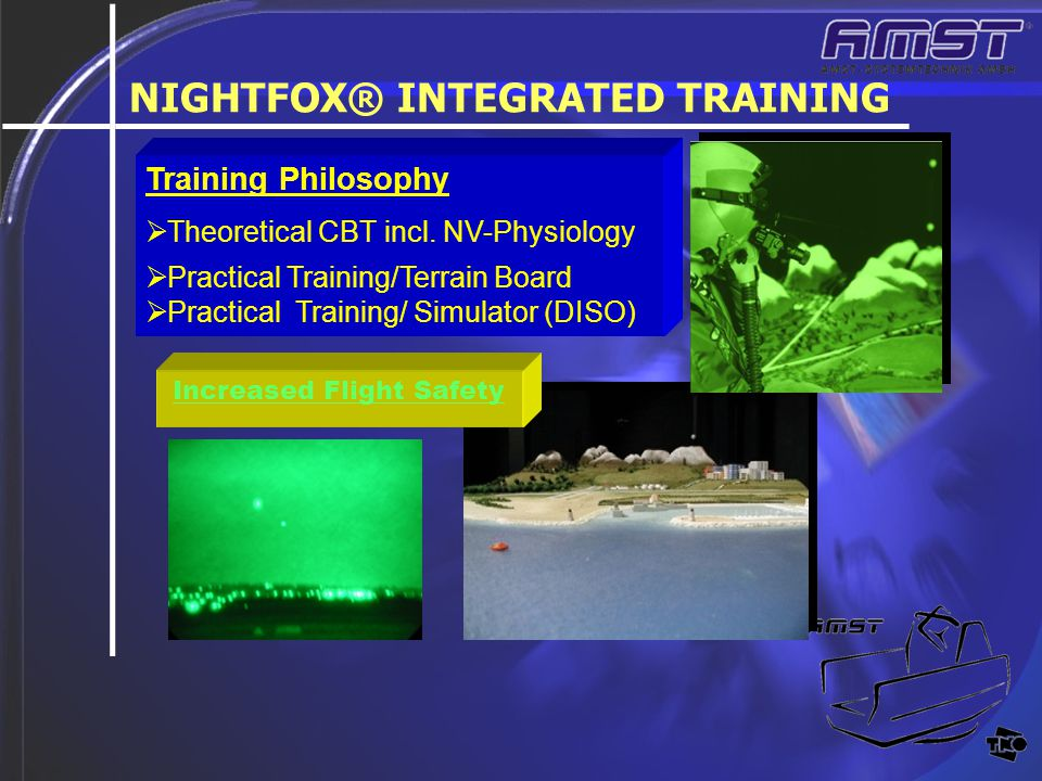 + NIGHTFOX® INTEGRATED TRAINING Training Philosophy  Theoretical CBT incl. NV-Physiology  Practical Training/Terrain Board  Practical Training/ Sim