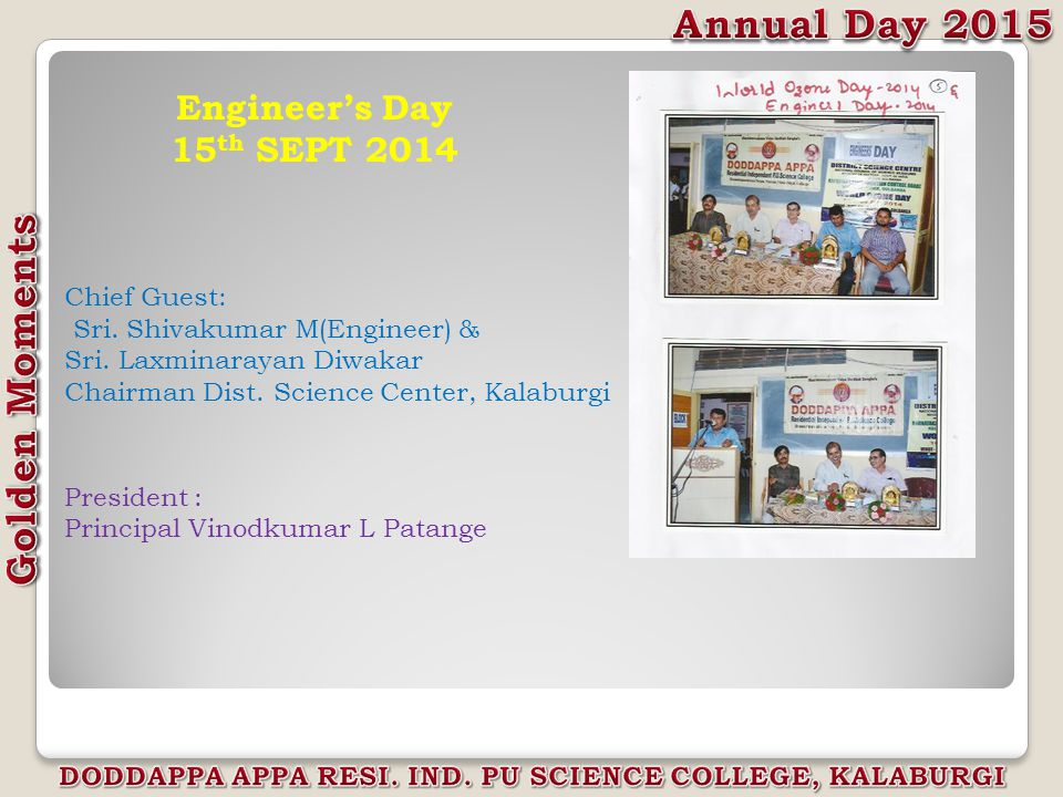 Engineer's Day 15 th SEPT 2014 Chief Guest: Sri. Shivakumar M(Engineer) & Sri.