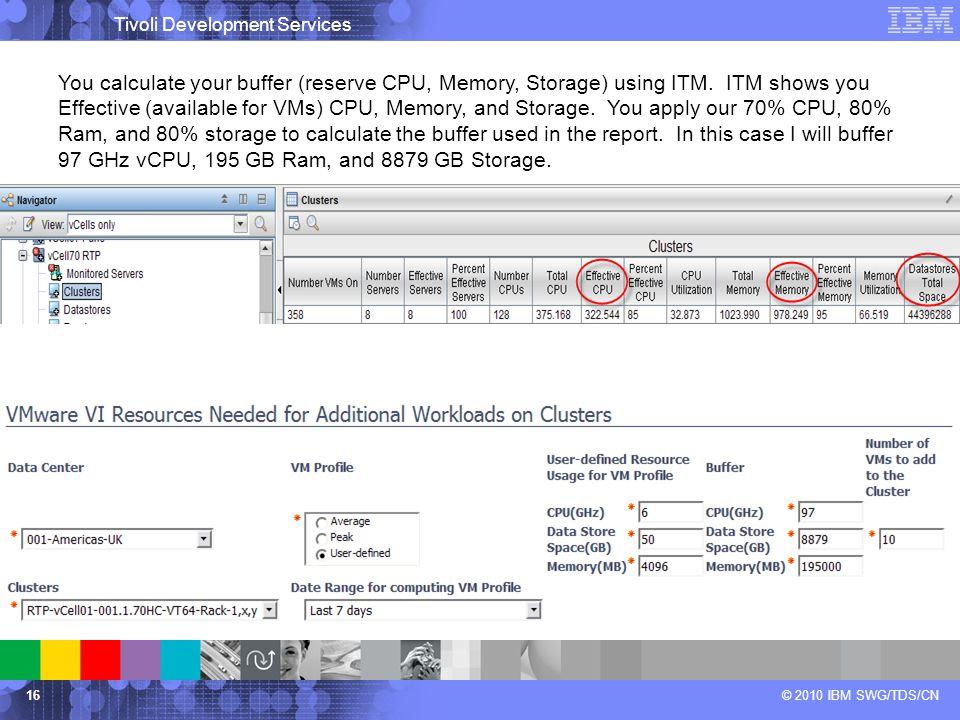 Tivoli Development Services © 2010 IBM SWG/TDS/CN16 You calculate your buffer (reserve CPU, Memory, Storage) using ITM.