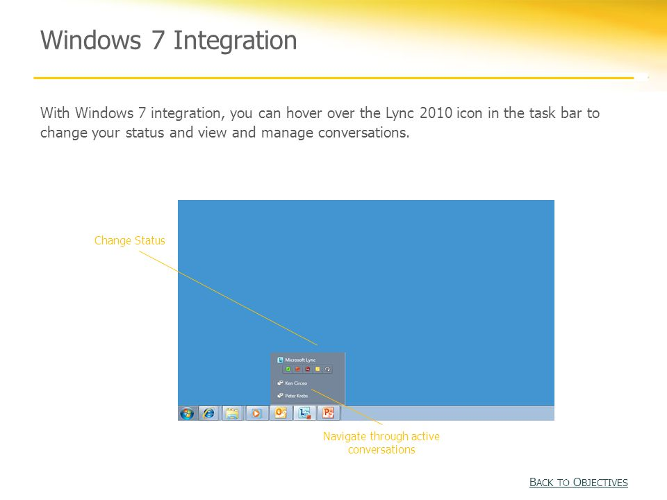 Windows 7 Integration With Windows 7 integration, you can hover over the Lync 2010 icon in the task bar to change your status and view and manage conversations.