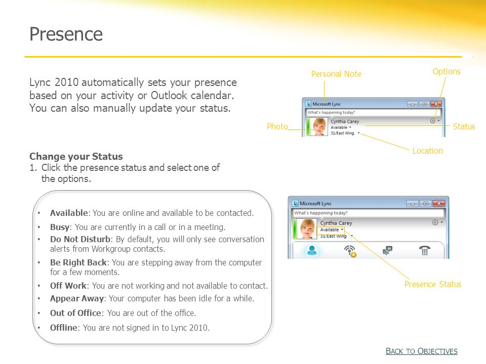 Presence Lync 2010 automatically sets your presence based on your activity or Outlook calendar.