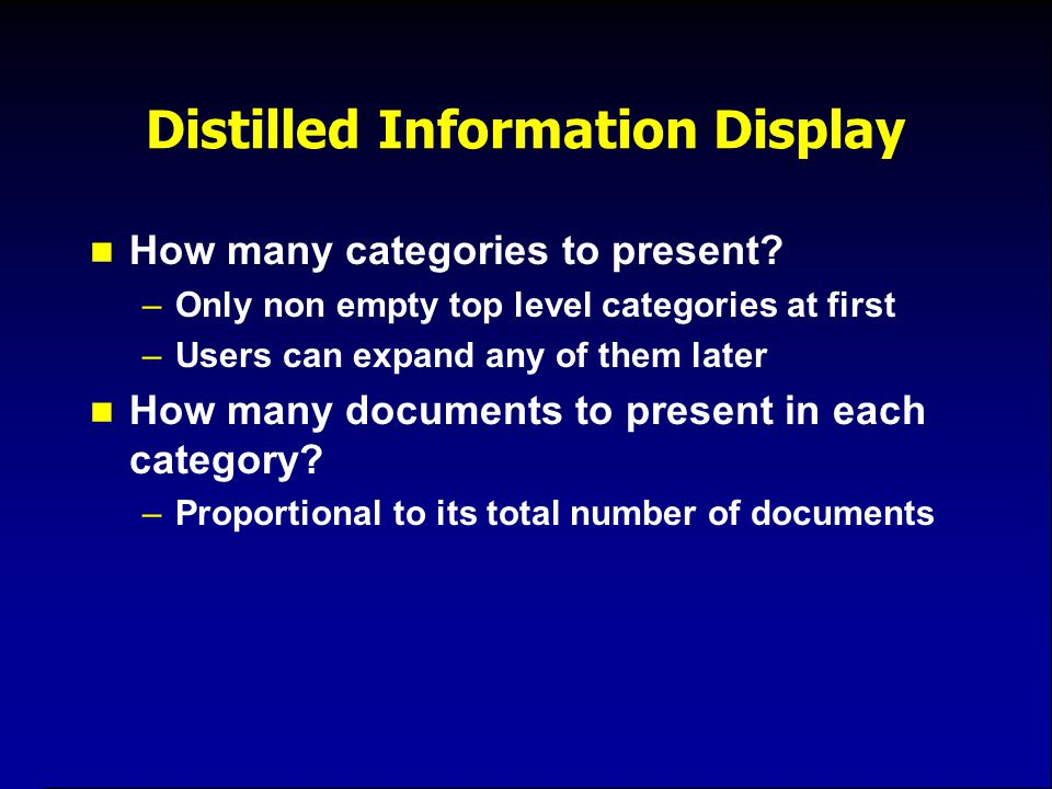 Distilled Information Display How many categories to present.