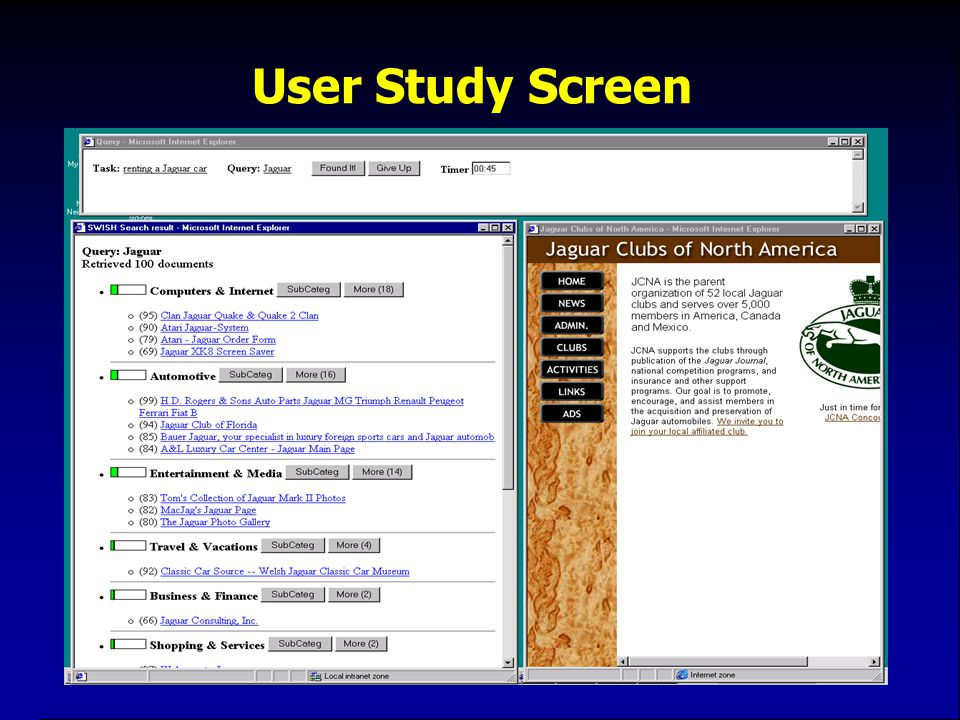 User Study Screen