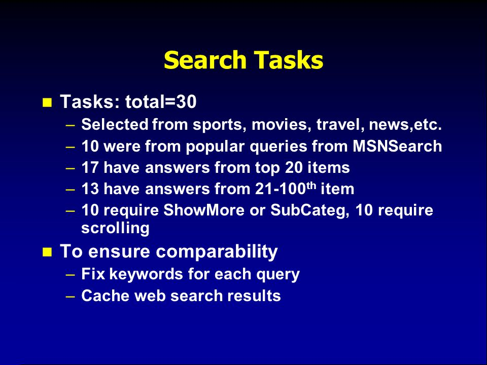 Search Tasks Tasks: total=30 –Selected from sports, movies, travel, news,etc. –10 were from popular queries from MSNSearch –17 have answers from top 2