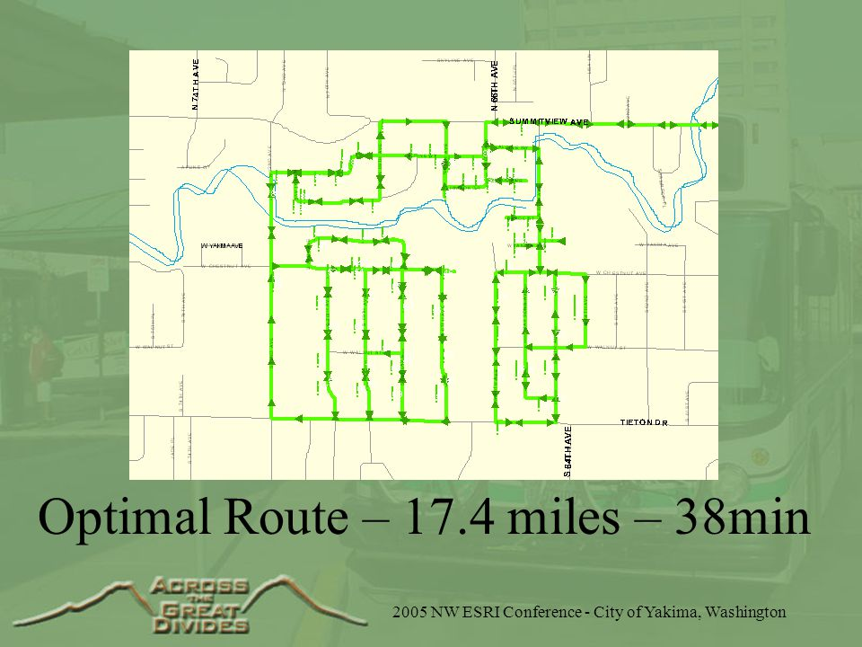 2005 NW ESRI Conference - City of Yakima, Washington Optimal Route – 17.4 miles – 38min