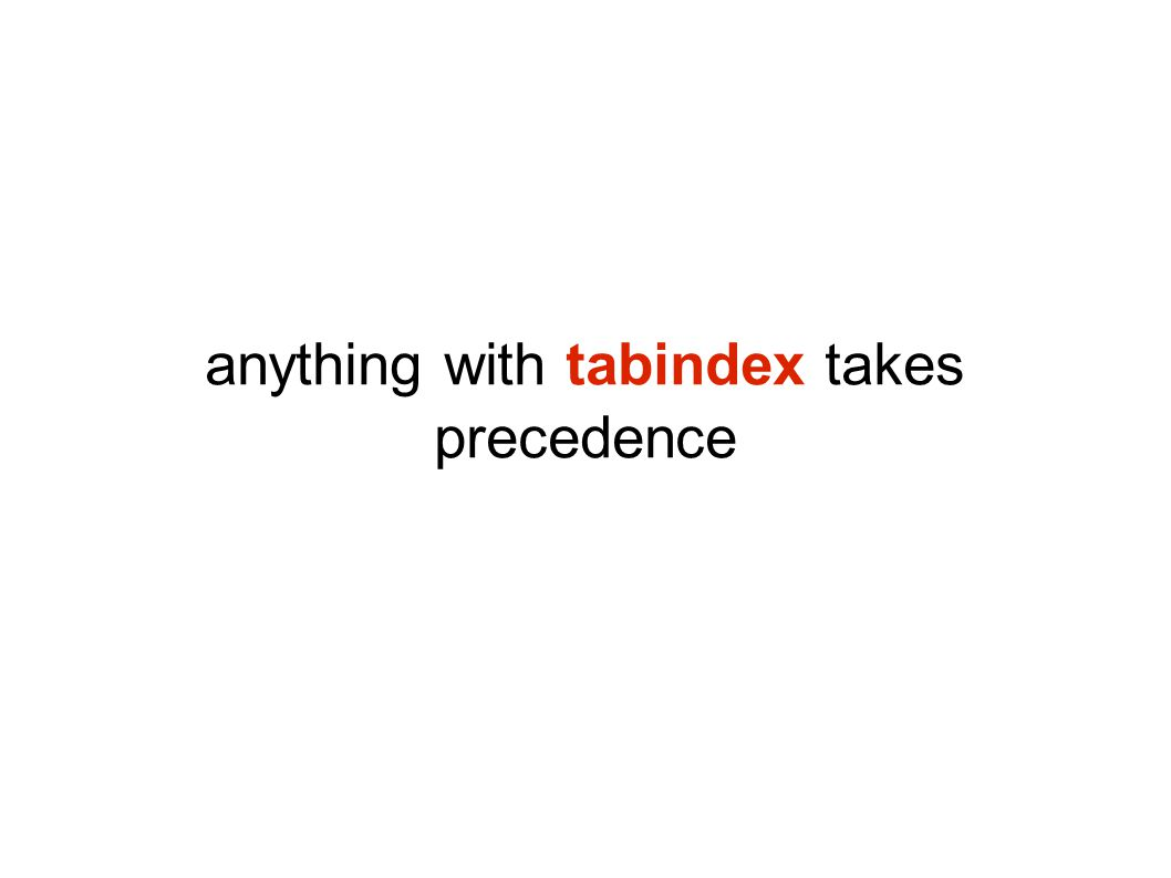 anything with tabindex takes precedence