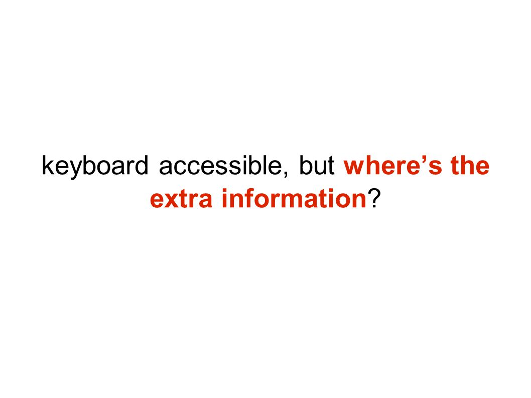 keyboard accessible, but where's the extra information?