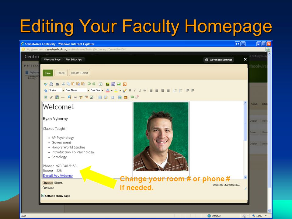 Editing Your Faculty Homepage Change your room # or phone # if needed.