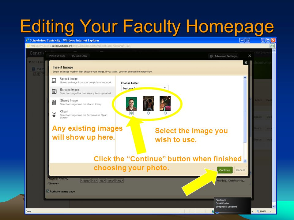 Editing Your Faculty Homepage Any existing images will show up here.