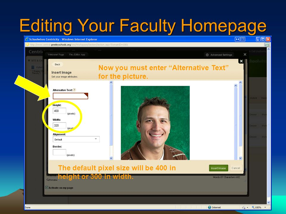 Editing Your Faculty Homepage Now you must enter Alternative Text for the picture.