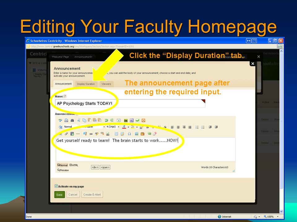 Editing Your Faculty Homepage The announcement page after entering the required input.