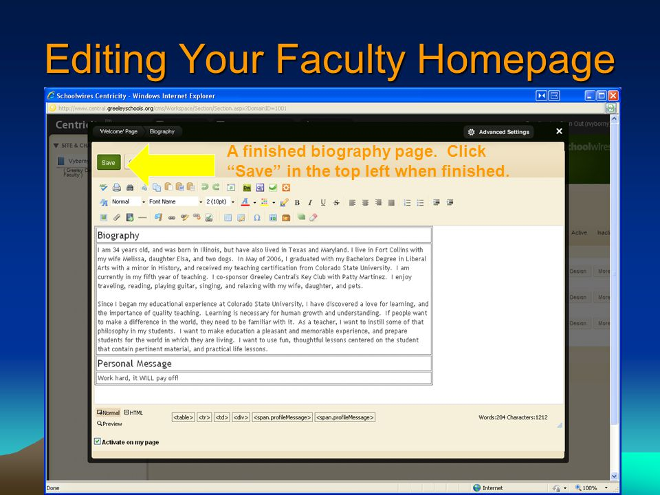 Editing Your Faculty Homepage A finished biography page.