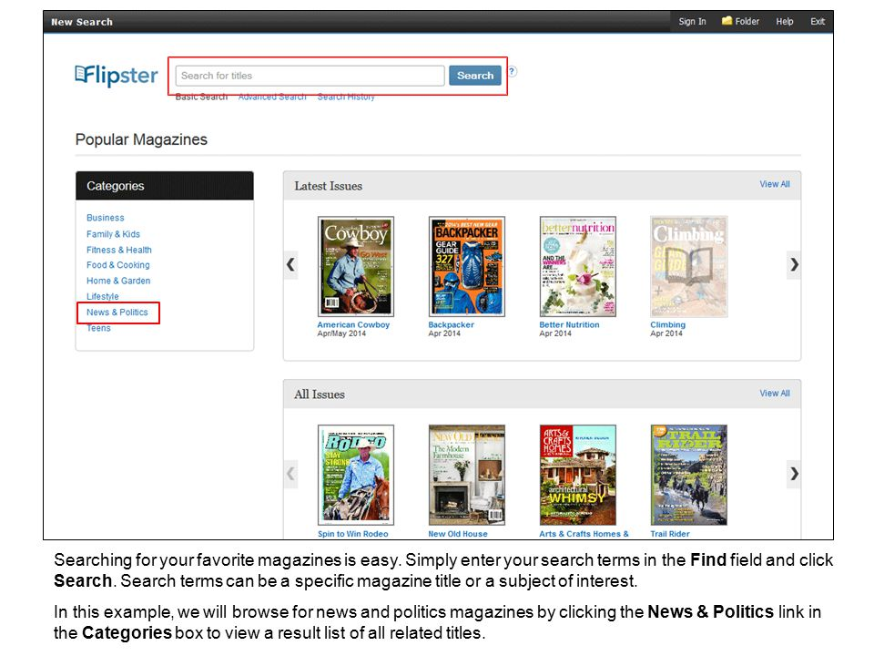 Searching for your favorite magazines is easy.