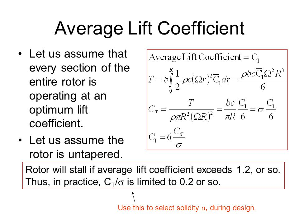 Average Lift Coefficient Let us assume that every section of the entire rotor is operating at an optimum lift coefficient.