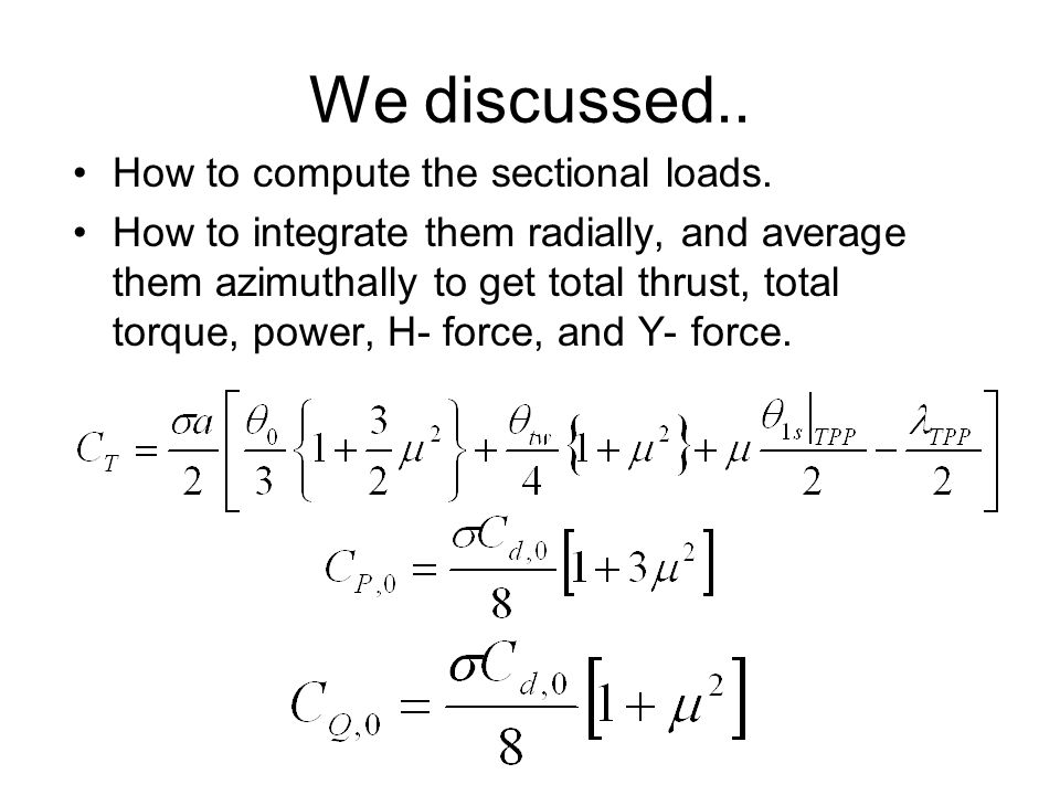 We discussed.. How to compute the sectional loads.