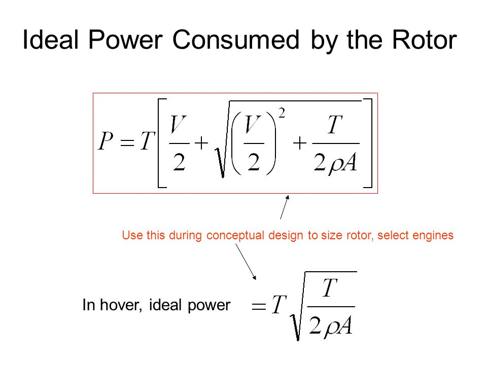 Ideal Power Consumed by the Rotor In hover, ideal power Use this during conceptual design to size rotor, select engines