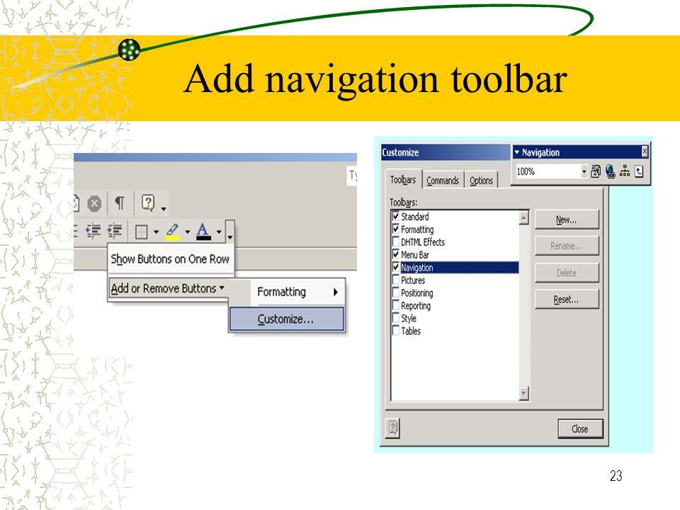 23 Add navigation toolbar