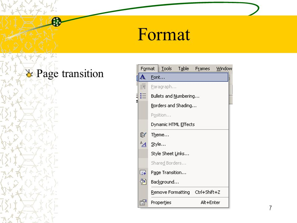 7 Format Page transition