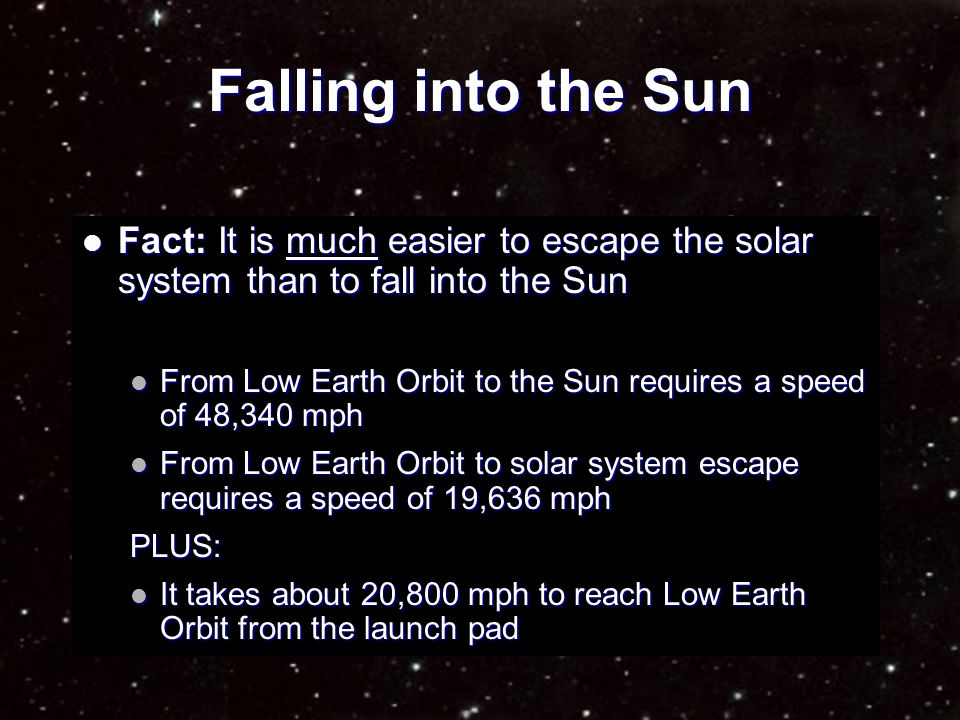 Falling into the Sun Fiction: Fiction: If not careful, a spacecraft could fall into the Sun