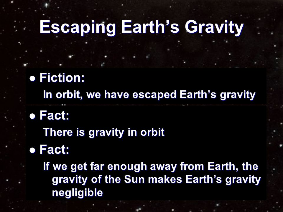 Consequence of Zero-Gravity Fact: Fact: In true zero-gravity, orbits are impossible.