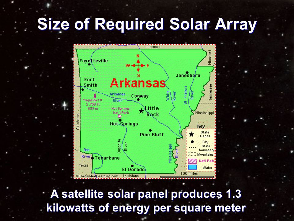 Size of Required Solar Array A satellite solar panel produces 1.3 kilowatts of energy per square meter