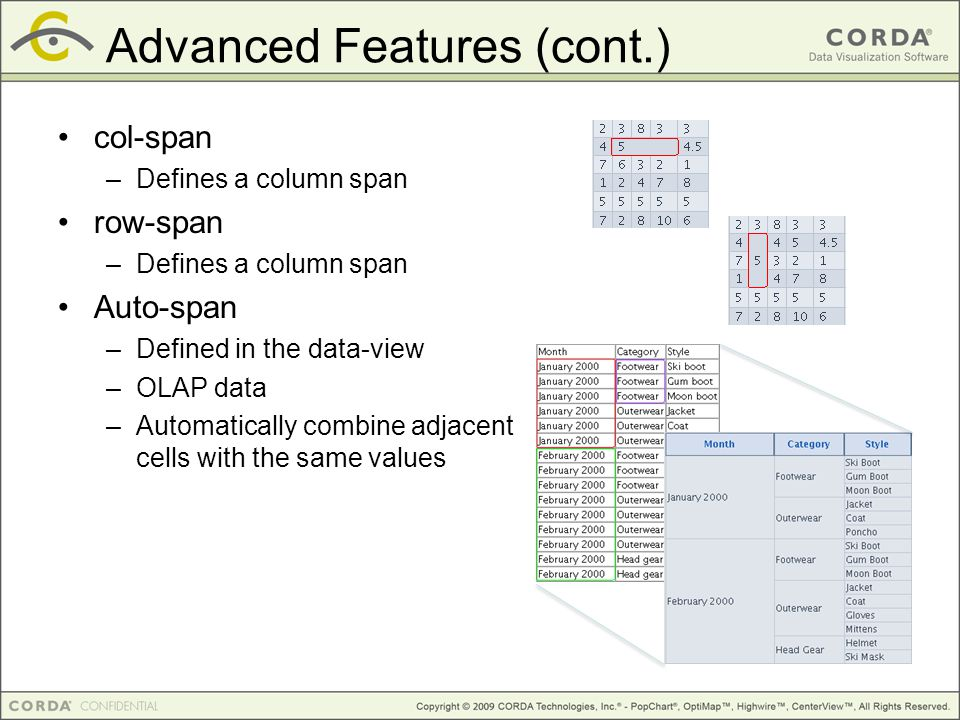Advanced Features (cont.)‏ col-span –Defines a column span row-span –Defines a column span Auto-span –Defined in the data-view –OLAP data –Automatically combine adjacent cells with the same values