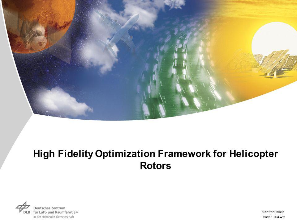 Phoenix > 11.05.2010 Manfred Imiela High Fidelity Optimization Framework for Helicopter Rotors