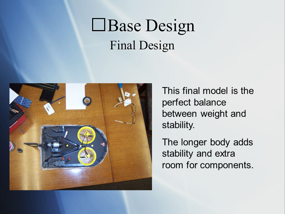 Base Design Final Design This final model is the perfect balance between weight and stability.