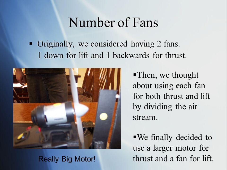 Number of Fans  Originally, we considered having 2 fans.