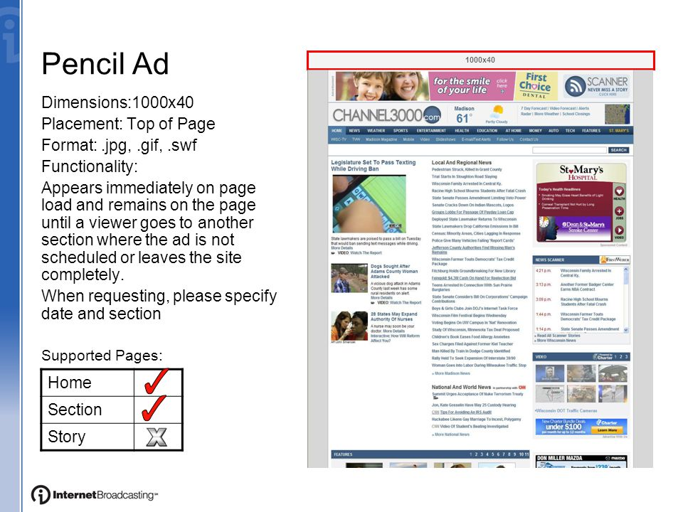 Full Page Ads Single Page Ads are client- based content pages that incorporate logos, images, text and links into the site using a variety of templates.