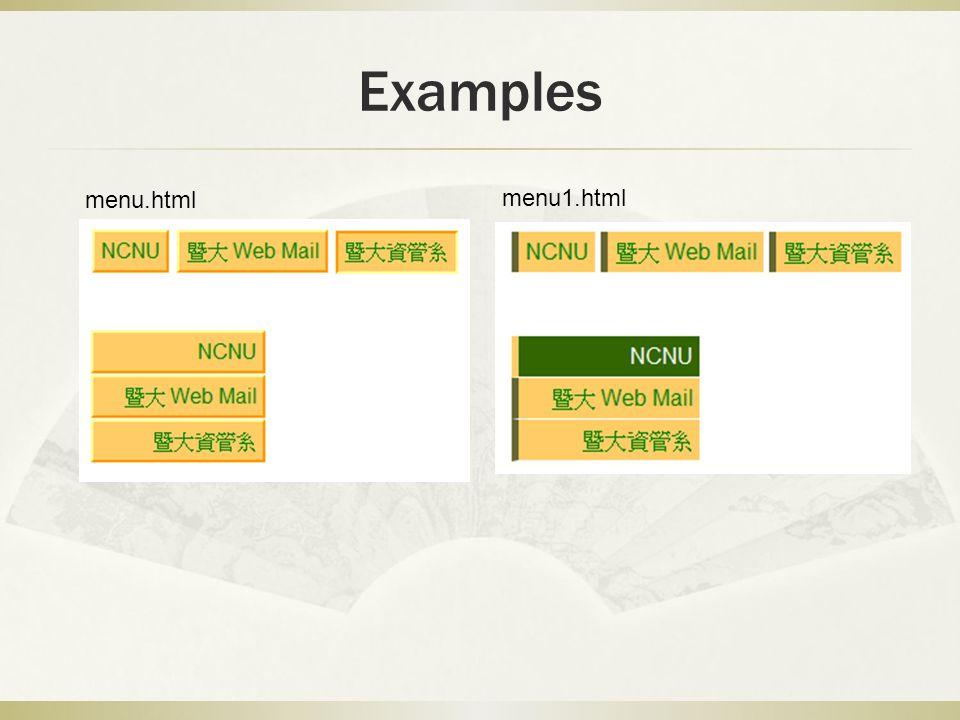 Examples menu.html menu1.html