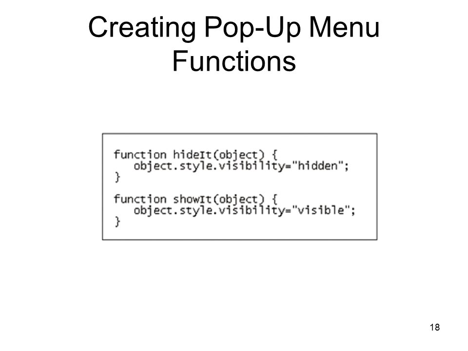 18 Creating Pop-Up Menu Functions