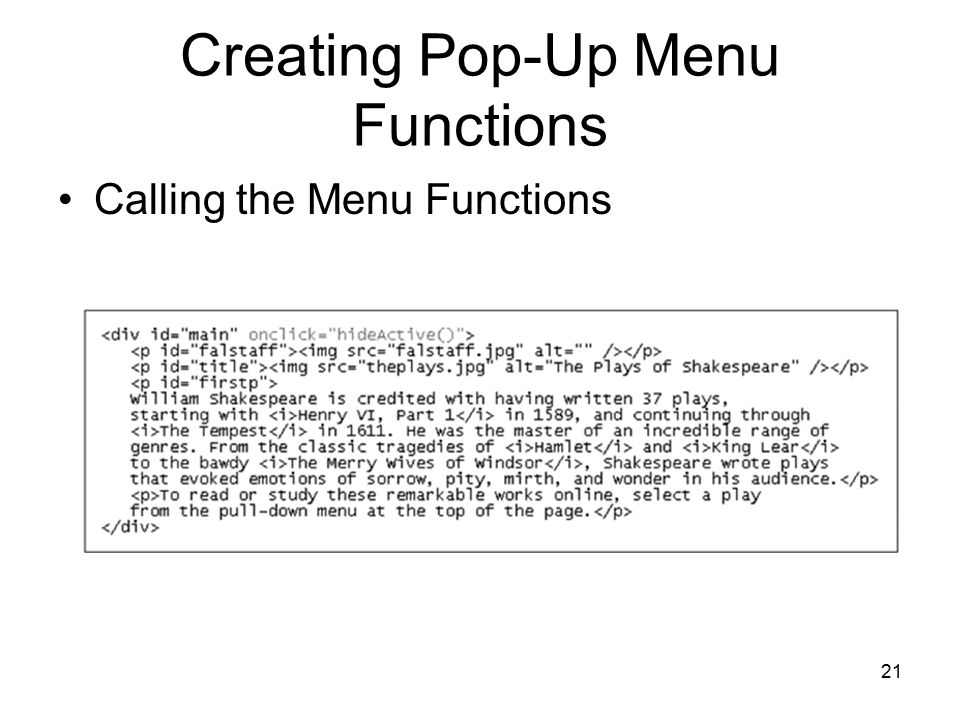 21 Creating Pop-Up Menu Functions Calling the Menu Functions