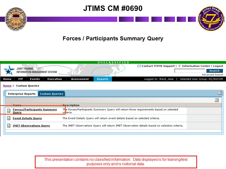 Forces / Participants Summary Query This presentation contains no classified information.