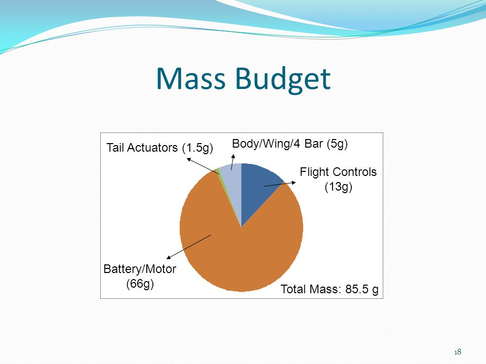 Mass Budget Flight Controls (13g) Battery/Motor (66g) Tail Actuators (1.5g) Body/Wing/4 Bar (5g) 18 Total Mass: 85.5 g