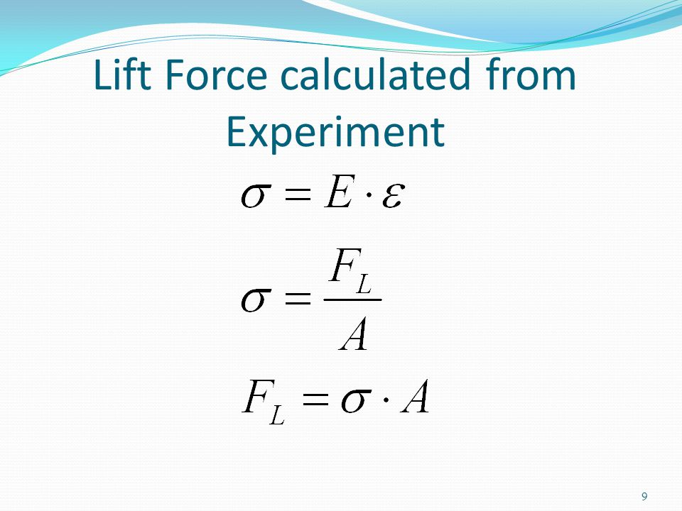 Lift Force calculated from Experiment 9