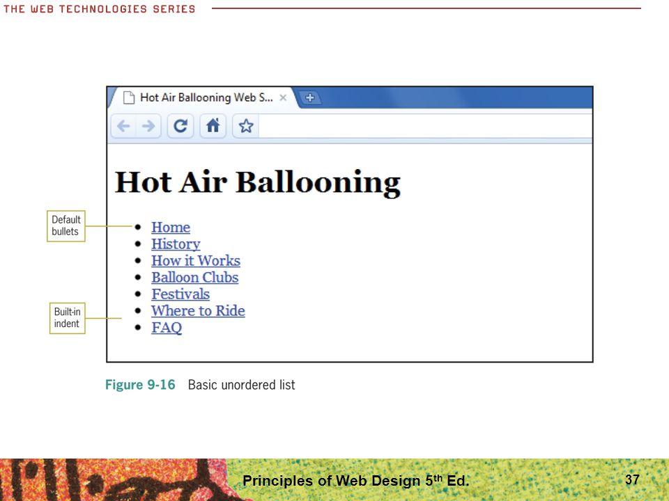 Principles of Web Design 5 th Ed. 37