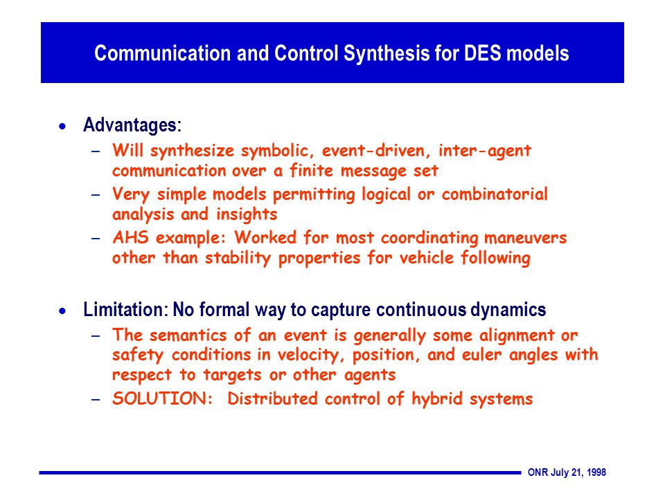 ONR July 21, 1998  Advantages: – Will synthesize symbolic, event-driven, inter-agent communication over a finite message set – Very simple models permitting logical or combinatorial analysis and insights – AHS example: Worked for most coordinating maneuvers other than stability properties for vehicle following  Limitation: No formal way to capture continuous dynamics – The semantics of an event is generally some alignment or safety conditions in velocity, position, and euler angles with respect to targets or other agents – SOLUTION: Distributed control of hybrid systems systems Communication and Control Synthesis for DES models