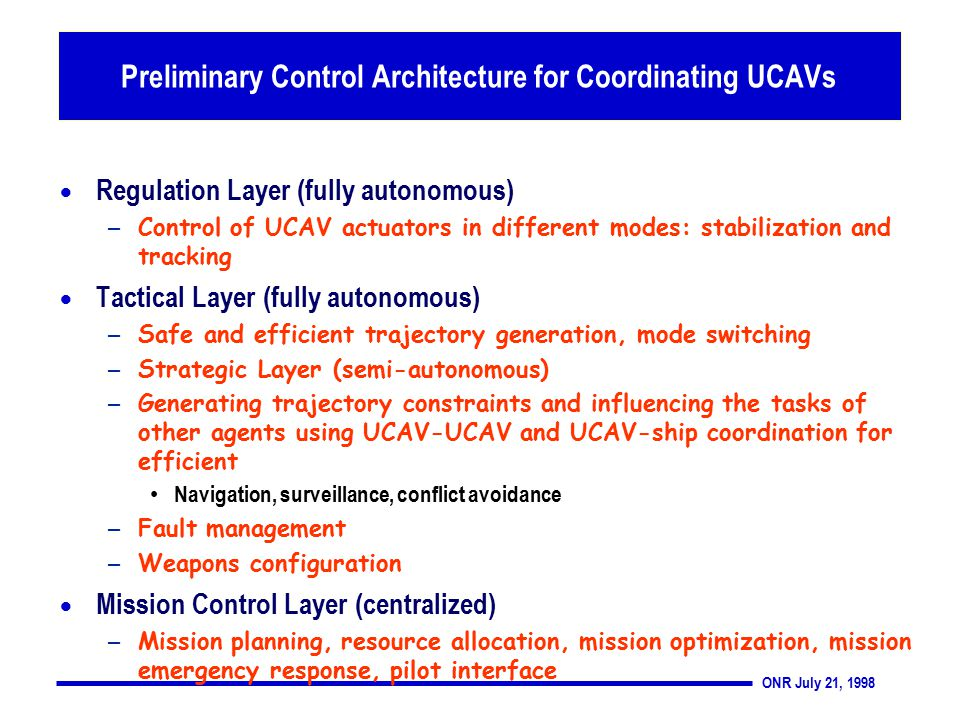 ONR July 21, 1998 Preliminary Control Architecture for Coordinating UCAVs  Regulation Layer (fully autonomous) – Control of UCAV actuators in different modes: stabilization and tracking  Tactical Layer (fully autonomous) – Safe and efficient trajectory generation, mode switching – Strategic Layer (semi-autonomous) – Generating trajectory constraints and influencing the tasks of other agents using UCAV-UCAV and UCAV-ship coordination for efficient Navigation, surveillance, conflict avoidance – Fault management – Weapons configuration  Mission Control Layer (centralized) – Mission planning, resource allocation, mission optimization, mission emergency response, pilot interface