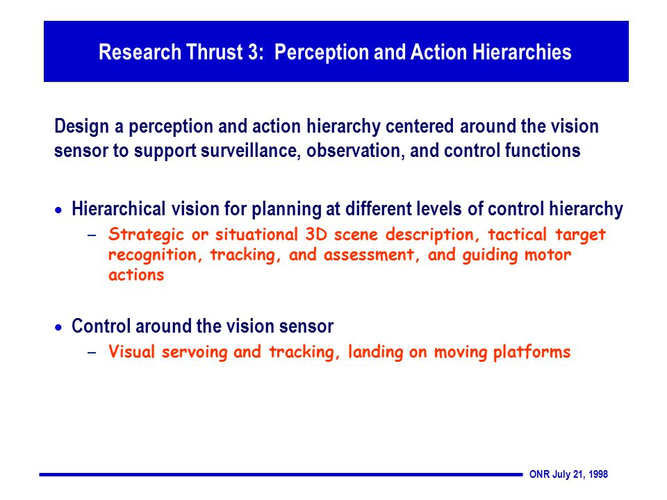 ONR July 21, 1998 Thrust 3: Perception and Action Hierarchies Design a perception and action hierarchy centered around the vision sensor to support surveillance, observation, and control functions  Hierarchical vision for planning at different levels of control hierarchy – Strategic or situational 3D scene description, tactical target recognition, tracking, and assessment, and guiding motor actions  Control around the vision sensor – Visual servoing and tracking, landing on moving platforms Research Thrust 3: Perception and Action Hierarchies