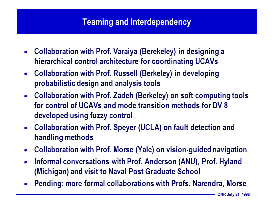 ONR July 21, 1998 Teaming and Interdependency  Collaboration with Prof.